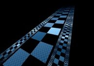Abstract digital fractal square blue perspective