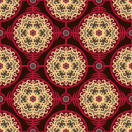 Oriental Authentic Round Ornament Seamless Pattern