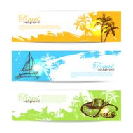 Banner set of travel tropical backgrounds