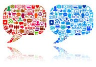 Chat Bubble with Technology & Internet Vector Icons Color Set