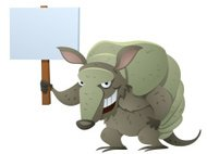 Armadillo Holding A Sign