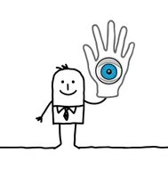 businessman holding up a hand with big eye