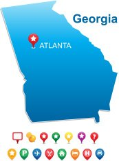 map of Georgia state with gps pins