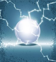 abstract background with a glass ball and lightning
