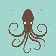 Surprised Octopus in water and bubbles