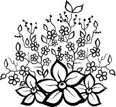black and white floral pattern design element.