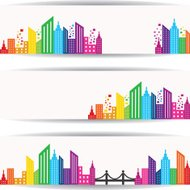 Abstract colorful building design for website banner