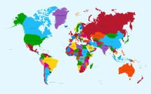 World map, colorful countries atlas EPS10 vector file.
