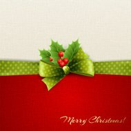 Holiday background with green polka dots bow and holly