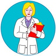 female doctor or nurse holding a clipboard