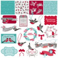 Scrapbook Design Element - Christmas Birds