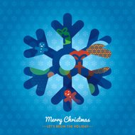 Christmas Snowflake on blue background vector illustration