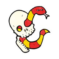 cartoon spooky skull with snake