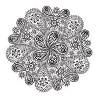 Ornamental winter hand-drawn lace snowflake. Doodle background.