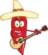 Red Chili Pepper With Mexican Hat Playing A Guitar