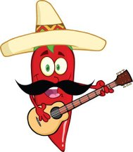 Chili Pepper With Mexican Hat And Mustache Playing A Guitar