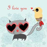 Cat and bird love
