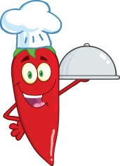 Cute Red Chili Pepper Chef Holding A Platter