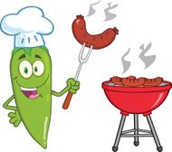 Green Chili Pepper Chef With Sausage On Fork
