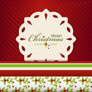 Christmas snowflake label on red2