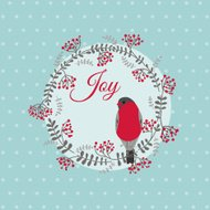 Christmas Card with Bird and Wreath -
