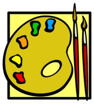 painting palette and brushes