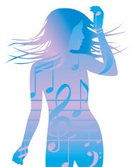 Blue woman silhouette dancing to music