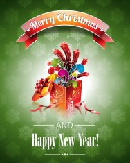 Christmas illustration with magic gift box on green background.