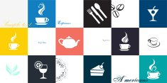 Coffee and tea cup set. Vector icon collection