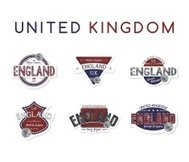united kingdom england label emblem set