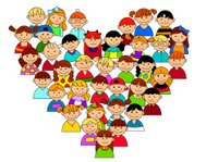 Heart shape with boys and girls