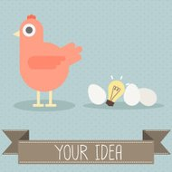 hen with egg and light bulb