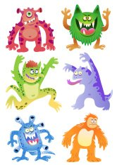 Set of funny cartoon monsters.