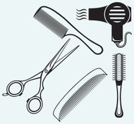 Scissors and Comb for hair