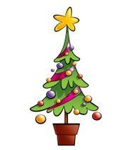 Christmas colorful pine tree decorated with ornaments and big st