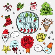 Vector christmas label set hand drawn, colorful doodle illustrat