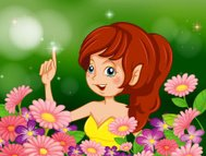 pretty fairy in the garden with pink and purple flowers