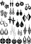 Silhouettes of earrings