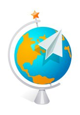 vector icon globe and paper plane