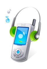 vector icon mobile phone and headphone
