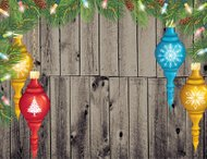 Christmas Ornaments Wood Background