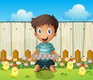 boy with an empty egg tray and the little chicks