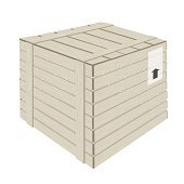 Wooden Cargo Box on White Background