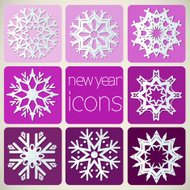 New Year Icons Set with Snowflakes.