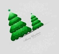 merry christmas green tree card colorful vector