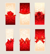 Set of beautiful gift cards with red  bows