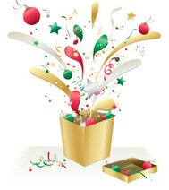 Christmas Decorations, Confetti, and Metallic Gold Holiday Gift
