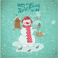 Christmas Card - Snowman and Birds-