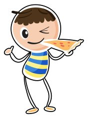sketch of a boy eating pizza