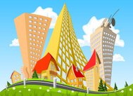 Vector abstract city surrounded by nature landscape.